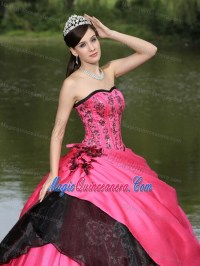 Hot Pink and Black Quince Dress with Embroidery and Hand ...
