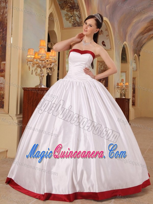 Simple White Ball Gown Sweet 15 Dresses with Wine Red Hem