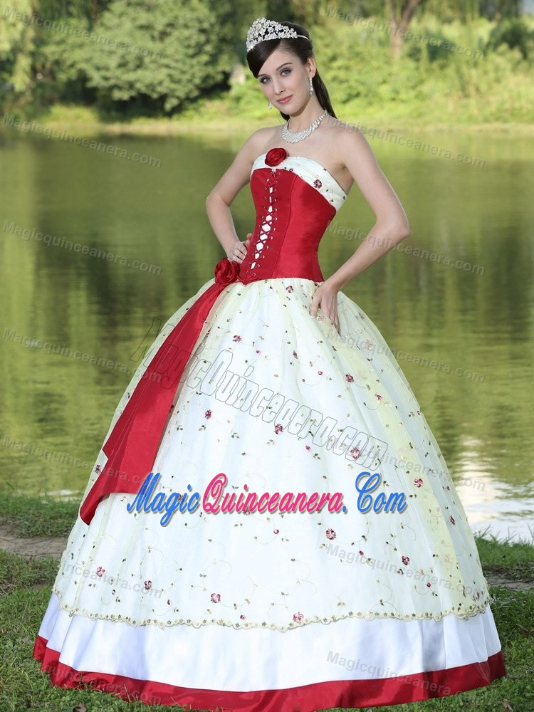 Queretaro Mexico Red and White Quinceanera Gown with