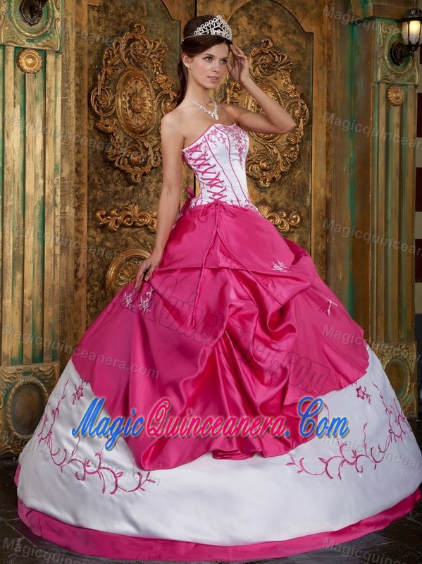 Hot Pink and White Quinceanera Dress with Laceup and