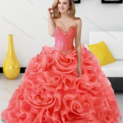 23dd0e96e92 Beading And Rolling Flowers Coral Red Sweet 15 Quinceanera Dresses