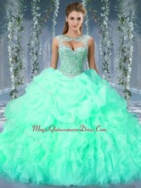 Cute Organza Big Puffy Watermelon Quinceanera Dress with ...