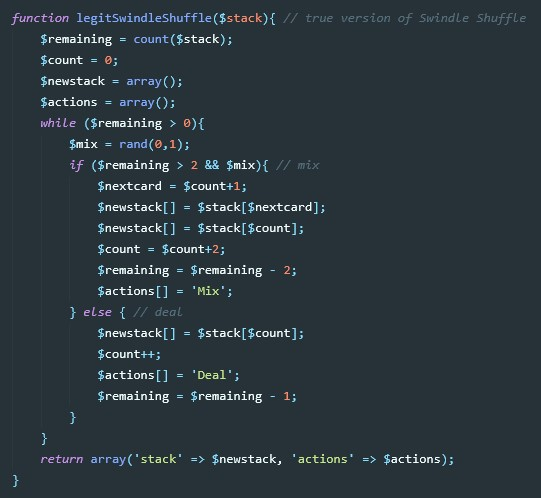 Code example of a shuffling function