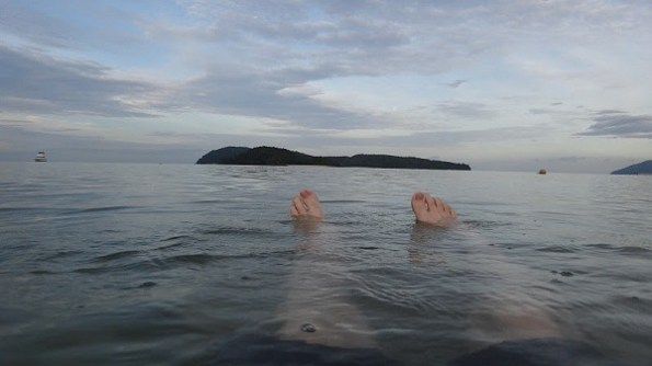 Floating in the beach at Pantai Cenang, Langkawi, Malaysia