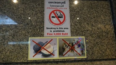 No smoking, eating stinky fruit, or bringing in cute lap dogs