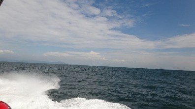 The ocean and sky on the ride calmer