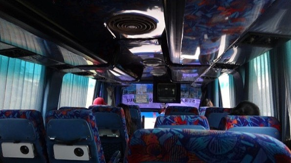 Inside the Seatran bus from Surat Thani to Donsak Pier