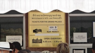 400 Baht per person to view the Grand Palace in Bangkok