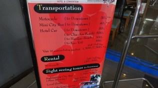 Royal Diamond Hotel - Transportation Price List