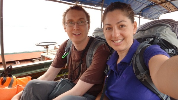 On the taxi boat on the Mekong River. Are we in Thailand or are we in Laos?