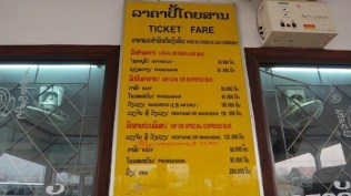 Ticket Fares at the Luang Prabang bus station