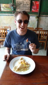Star Rise Restaurant - Andrew Enjoying His Bacon and Eggs Crepes