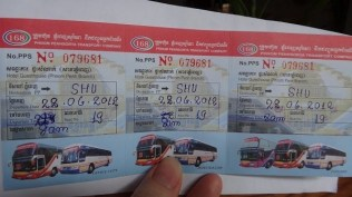 Phnom Penh to Sihanoukville - Our Bus Tickets