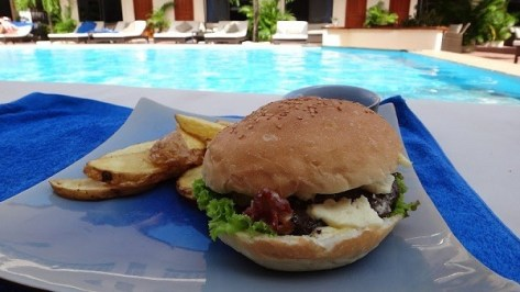 Blue Cheese And Bacon Burger At The Beach Club Resort, Sihanoukville, Cambodia