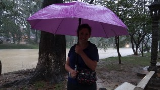 Tanya Caught In A Downpour in Siem Reap, Cambodia