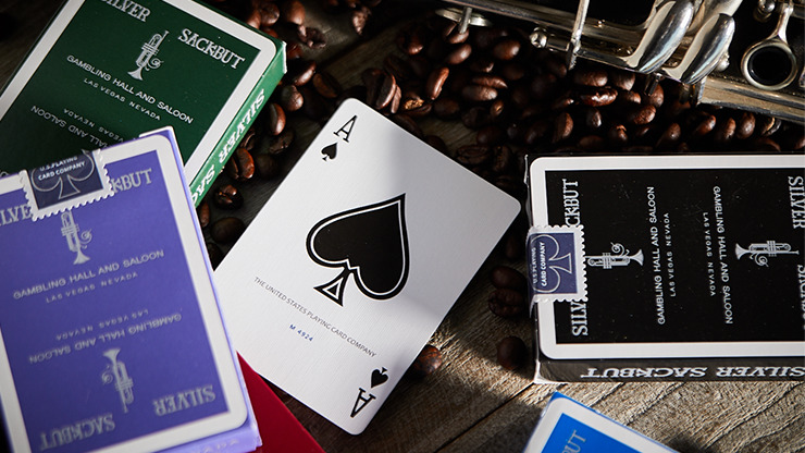 Silver Sackbut Playing Cards (Black)