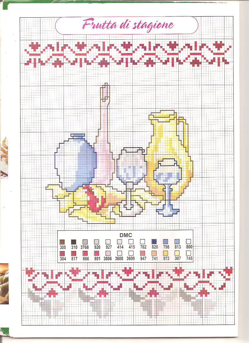 cucina brocca e bicchieri  magiedifiloit punto croce uncinetto schemi gratis hobby creativi