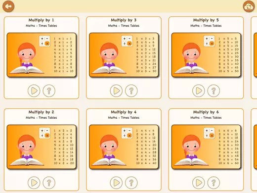 In this multiplication times table app you 'll find ten booklets with exercises.