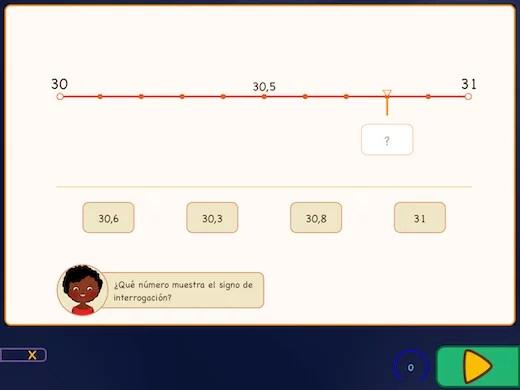 Este ejercicio está a punto de establecer decimales en la línea de números.