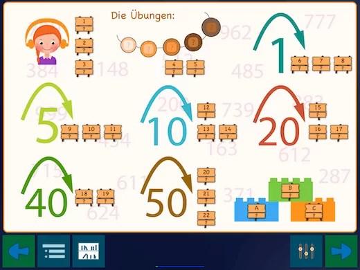 Der Aufbau vermittelt in 22 Schritten das Zählen von 100 bis 1000.