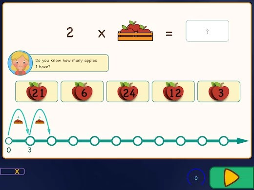 Example question in the app: Learn the times table with apples in a basket.