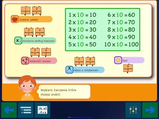 Nauka tabliczki mnożenia dla dzieci - w aplikacji znajdziesz 12 interaktywnych zeszytów ćwiczeń.