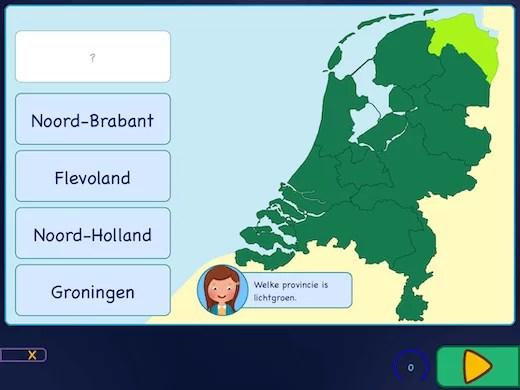 Leer de provincies van Nederland aan te wijzen op de kaart.