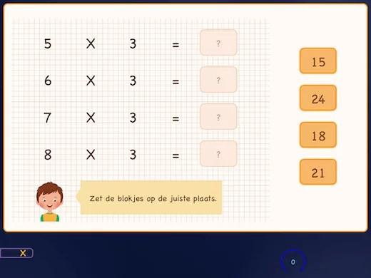 In deze oefening leer je de tafel van 3 in volgorde.