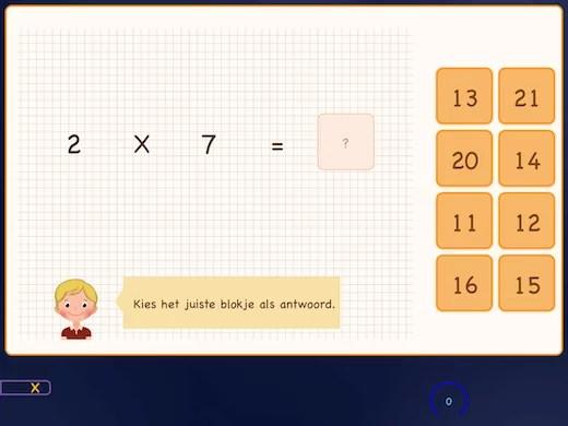 Ook de losse vermenigvuldigingen met 7 leer je in deze app.