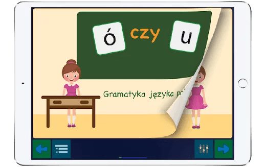 Tabel z otwartą aplikacją do nauki zasad ortograficznych