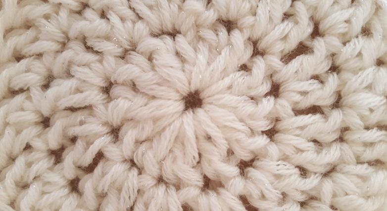 Luccica di Sesia è un filato in pura lana e poliestere metallizato lavorato all'uncinetto
