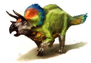 Ricostruzione moderna del Triceratopo con il suo vivacissimo piumaggio