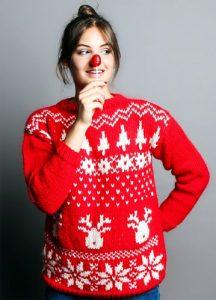 Maglione a motivi natalizi rosso e bianco