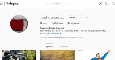 La home di Maglia-uncinetto.it su Instagram