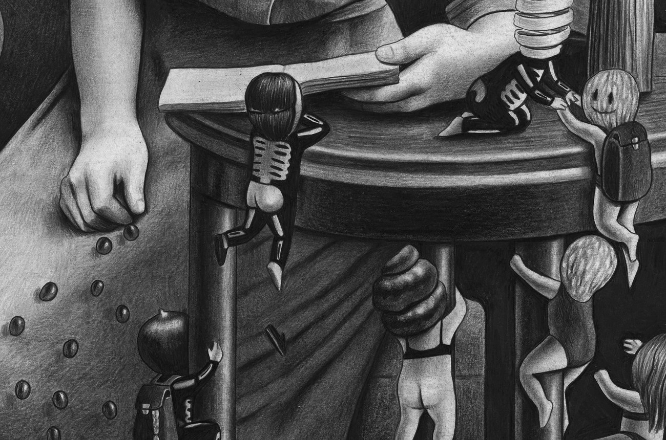 Detail of Pomegranade Amandine Urruty graphite charcoal paper Magma gallery