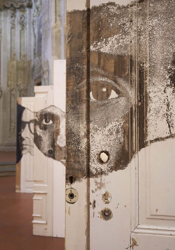 Portal contemporary art solo show of Vhils at Magma gallery Bologna Italy.