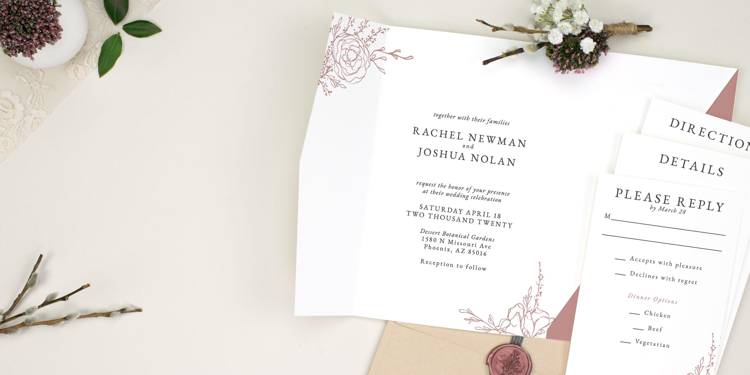 pocket wedding invitations 100