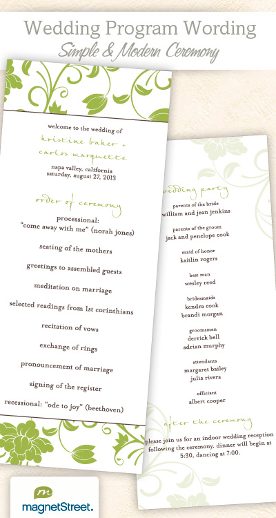 traditional wedding program template