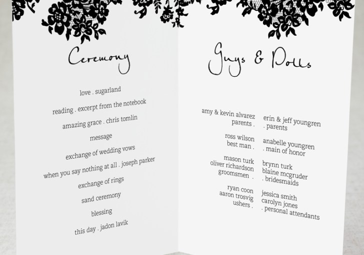 Example Of Wedding Program For Reception