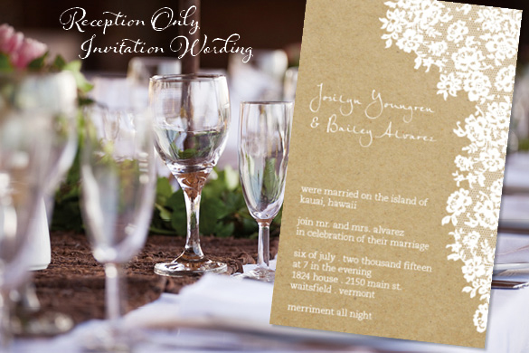 Reception Only Wedding Invitations Photo Al Velucy