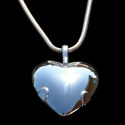BioElectric Shield Sterling Silver with Sterling Silver Tabs Heart Polished Finish EMF Protection