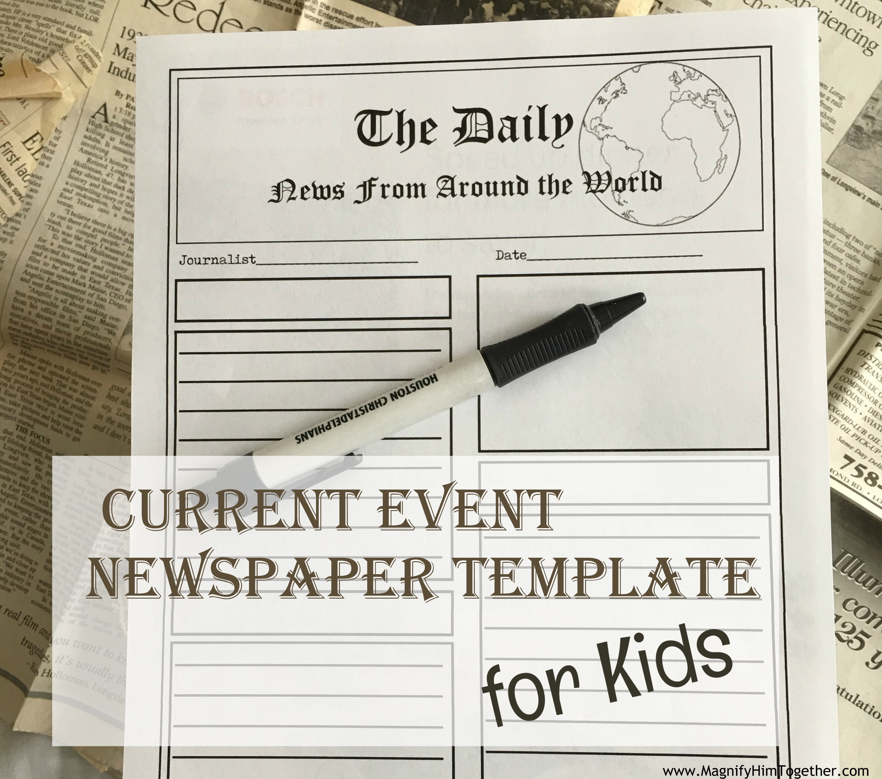 Current Event Newspaper Template For Kids Magnify Him