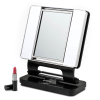 Ott Lite Natural 5X-1X Lighted Magnifying Makeup Mirror: Black