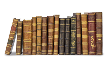 collection old books isolated on white with clipping path