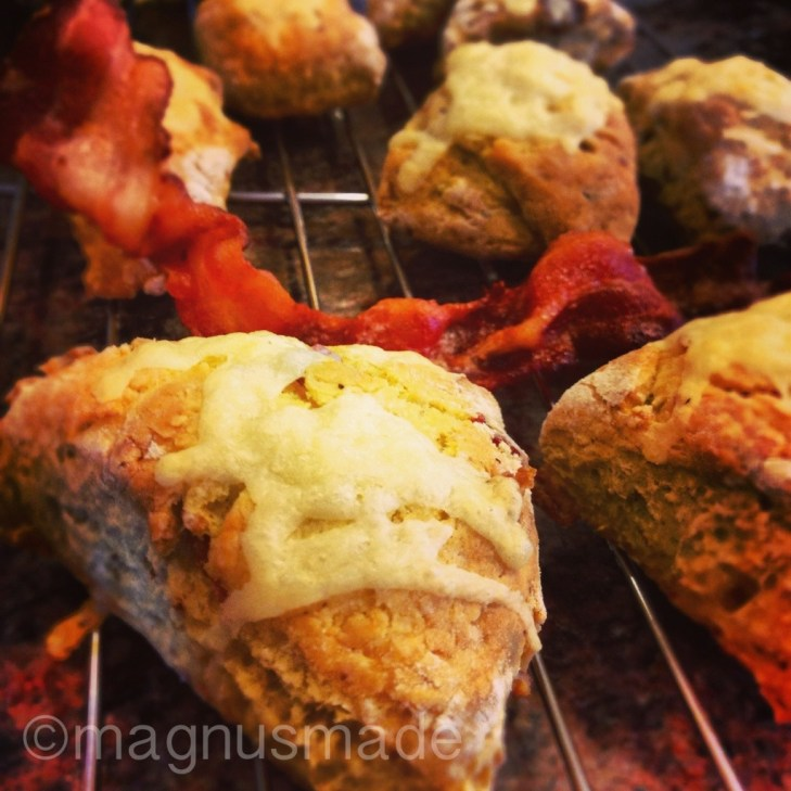 March 18, 2013: I set to the oven and whipped up a small batch of savory soda scones: Bacon, herb & cheddar