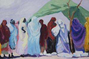 Sudanese women in UN WFP line painting by Boyd Miller