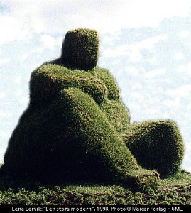 gaia the great mother takes the body grass sculpture by Lena Lervik, Lund Sweden 1998