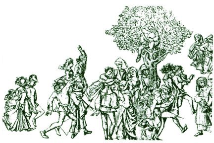 Peasants dancing with festival wreaths