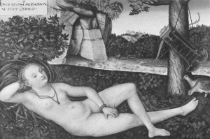 Diana Reclining by Lucas Cranach, sixteenth century. Note the quail and cave in the background.