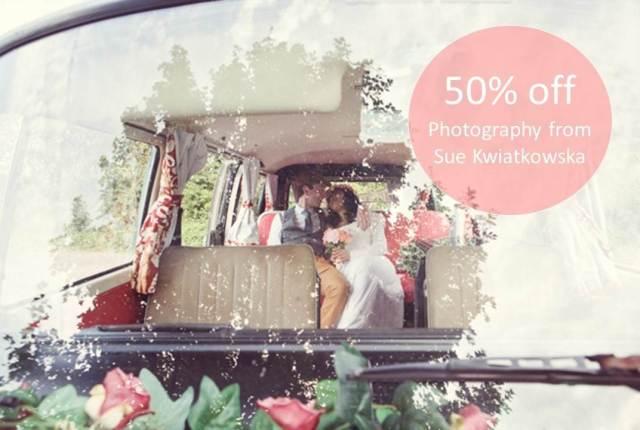 Unique Bride Club 50% off photography with Sue Kwiatkowska as part of the Unique Bride Club